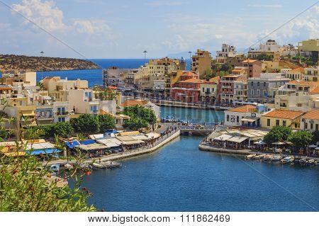 View over Agios Nikolaos harbour, Crete