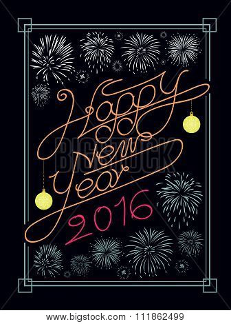 Hanppy New Year Typography And Fire Work Vector Design