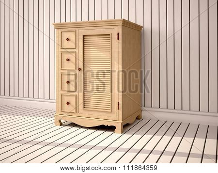 3D Illustration Of Closed Wooden Cupboard In White Interior