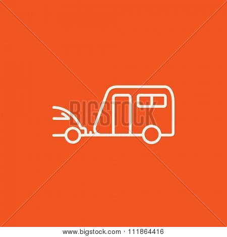 Car with caravan line icon for web, mobile and infographics. Vector white icon isolated on red background.