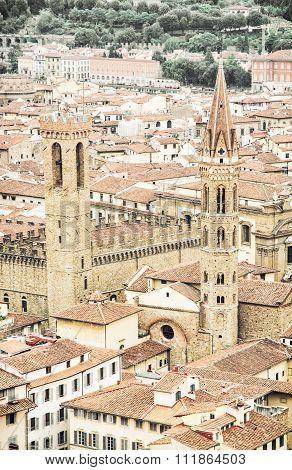 Palazzo Del Bargello And Badia Fiorentina Steeple, Florence, Italy
