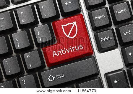Conceptual Keyboard - Antivirus (red Key With Shield Symbol)