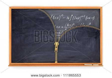 Classroom Blackboard Open By Zipper And Blackboard With Mathematical Formulas Inside, Knowlage Conce