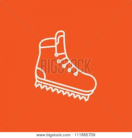 Hiking boot with crampons line icon for web, mobile and infographics. Vector white icon isolated on red background.