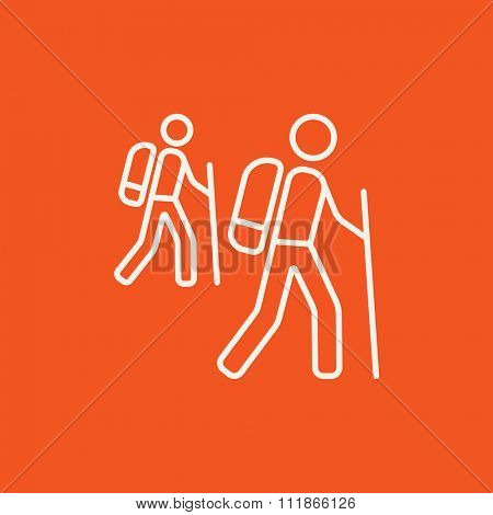 Tourist backpackers line icon for web, mobile and infographics. Vector white icon isolated on red background.