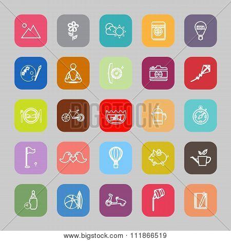 Slow Life Activity Flat Line Icons