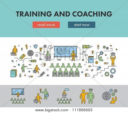 Line Design Concept Banner For Training And Coaching