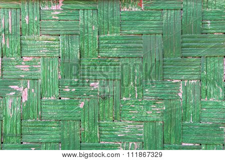 Handcraft Of Green Bamboo Weave Texture For Background