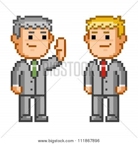 Pixel Icon Business Negotiation. Vector Businessman