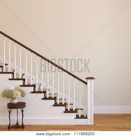 Stairway In The Modern House. 3d rendering.