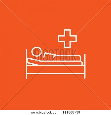 Patient lying on the bed line icon for web, mobile and infographics. Vector white icon isolated on red background.