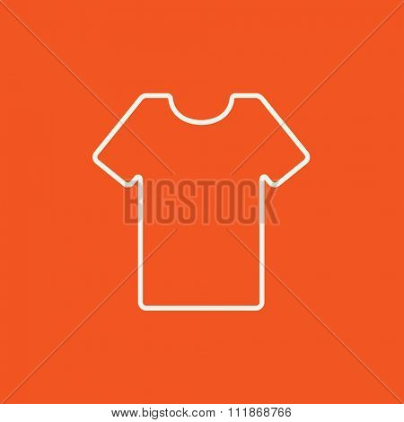 T-shirt line icon for web, mobile and infographics. Vector white icon isolated on red background.