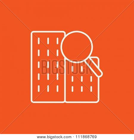 Condominium and magnifying glass line icon for web, mobile and infographics. Vector white icon isolated on red background.