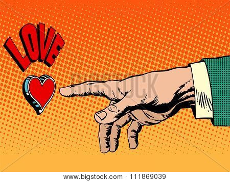 Love romance hand presses button