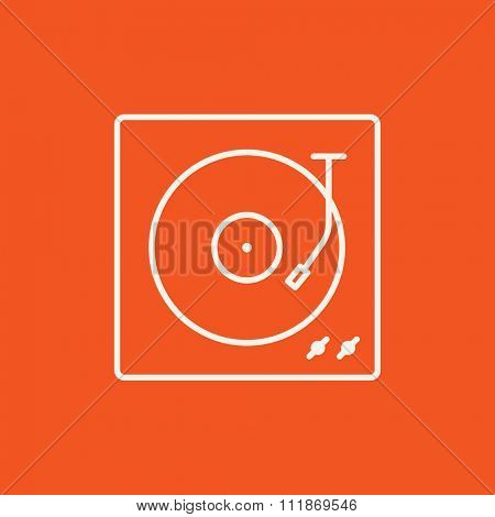 Turntable line icon for web, mobile and infographics. Vector white icon isolated on red background.