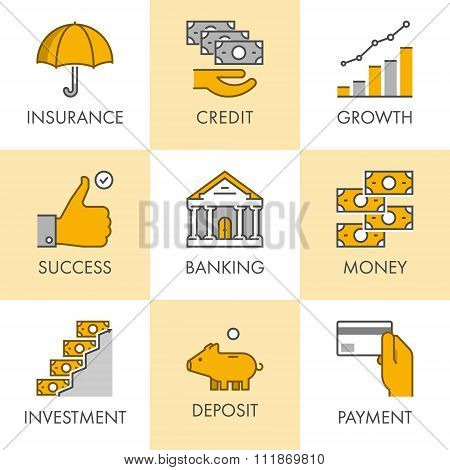 Linear And Flat Business Icons For Web. Insurance, Credit, Growt