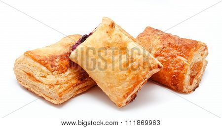 Fresh Puff Pastries With Cherry Jam Isolated