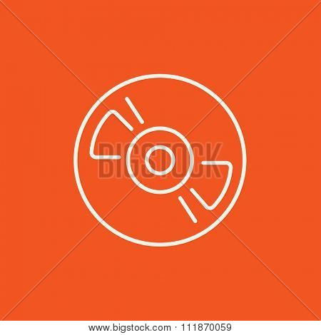 Reel tape deck player recorder line icon for web, mobile and infographics. Vector white icon isolated on red background.