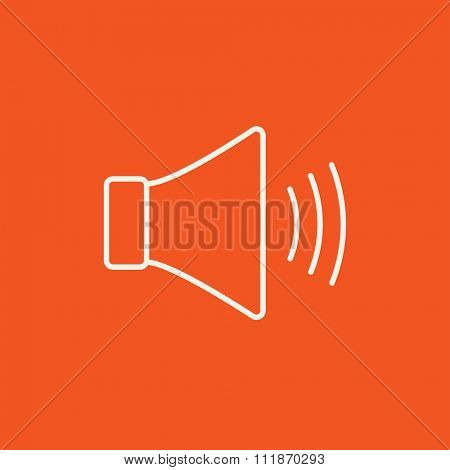 Speaker volume line icon for web, mobile and infographics. Vector white icon isolated on red background.