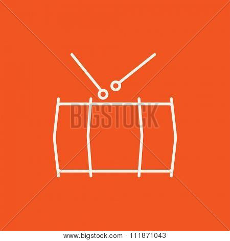 Drum with sticks line icon for web, mobile and infographics. Vector white icon isolated on red background.