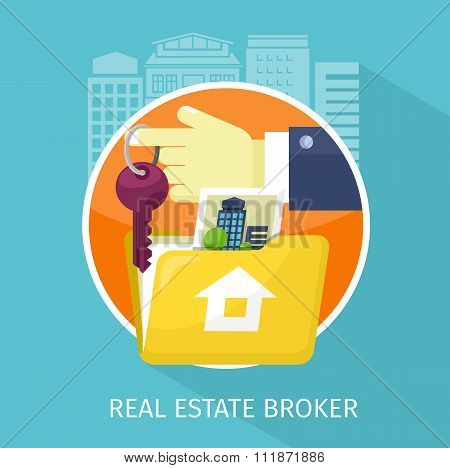 Real Estate Broker Design Flat