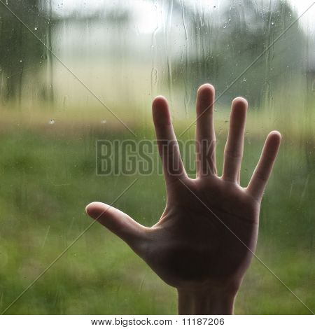 Hand Pressing Against Window