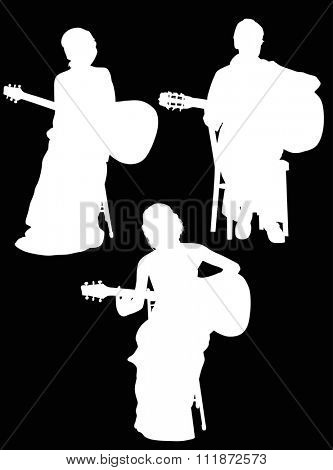 illustration with three guitarists isolated on black background