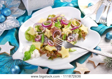 Herring Salad With Sour Cream ,apple And Potato For Christmas