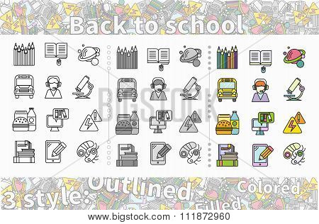 Set of Icon Back to School Flat Style
