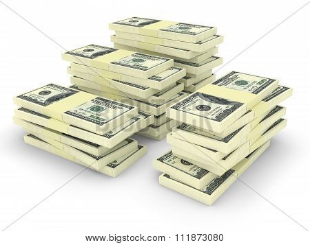 Money Stack Isolated On White. Finance Concepts