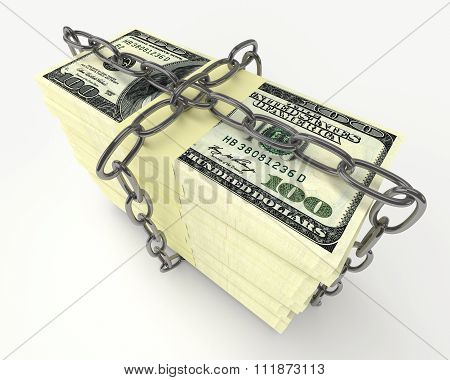 Stack Of Money Wrapped Chain