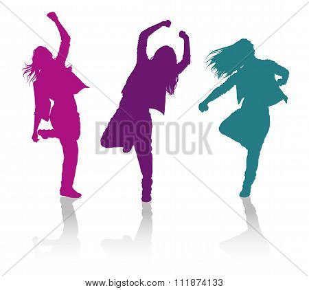 Silhouettes Of Girls Dancing Hip-hop Dance
