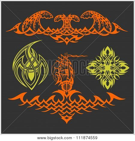 Tattoo set in tribal style on dark background