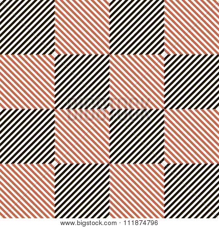 Abstract Seamless Checkered Pattern In Black, White And Red Colors