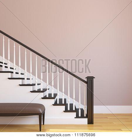 Stairway In The Modern House. 3d rendering