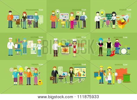 Work Team People Job Concept Flat Design