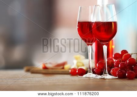 Two wineglasses on the table, close-up