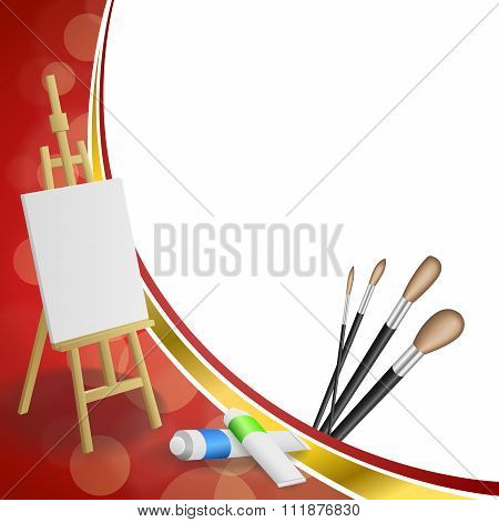 Background abstract easel picture paint brush red yellow gold ribbon frame illustration vector