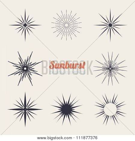 Vintage sunburst design elements collection with geometric shape, light ray