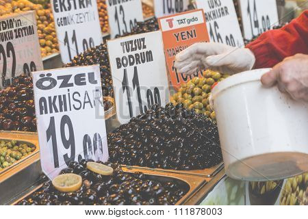 Olives shop in Grand Bazaar, Istanbul, Turkey.