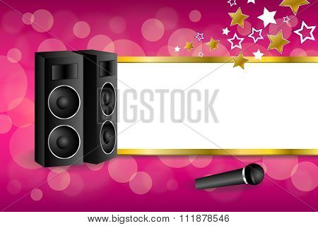 Background abstract pink karaoke microphone loudspeaker star yellow stripes gold frame illustration