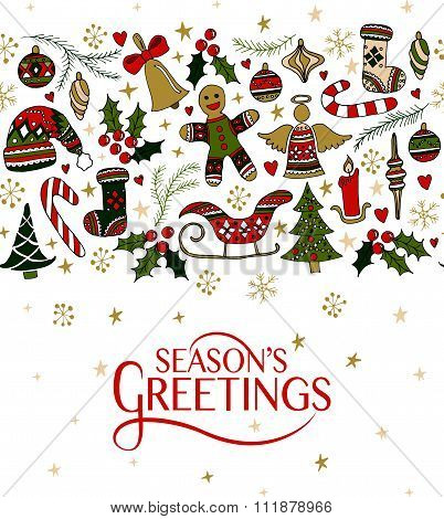 Lettering With Hand Drawn Christmas Objects For Christmas/new Year Greeting Card Template