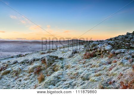 Winter Sunrise Over Rugged Moorland