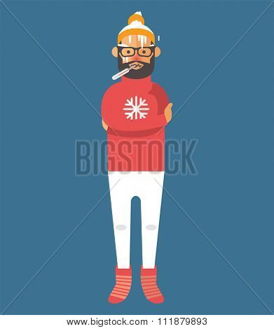 Man illness vector illustration. Seasonal virus attack. Man illness, boy sick. Man cold illustration. People unwell need medical help. Virus, health, fever people. People unwell. Illness people