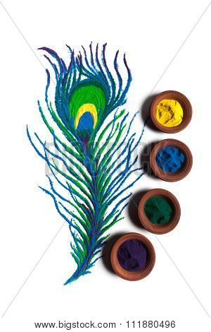Colorful Peacock feather rangoli with clay pots.