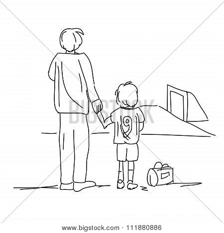 Illustration Of Dad Bringing Son To Soccer Isolated On White Background