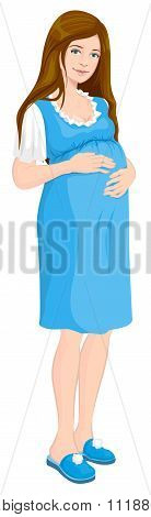 Young pregnant woman holds her hands on stomach. Future mom