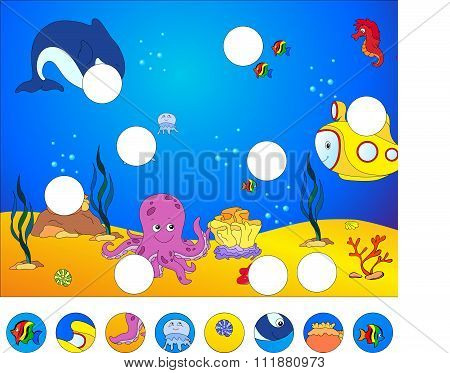 Underwater World And Marine Life: Complete The Puzzle And Find The Missing Parts Of The Picture. Vec