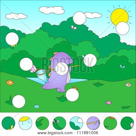 Purple Dragon On A Flower Meadow With Butterfly On Its Net: Complete The Puzzle And Find The Missing
