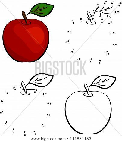 Cartoon Red Apple. Vector Illustration. Coloring And Dot To Dot Game For Kids